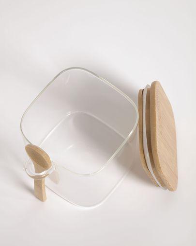 Bote pequeño Ilaria con cuchara de vidrio transparente y madera de bambú