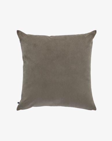 Fodera cuscino Namie 60 x 60 cm velluto a coste grigio scuro