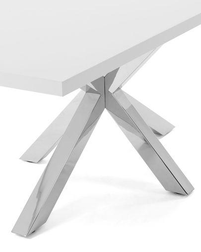 Mesa Argo 160 cm melamina branco pernas de aço inoxidável