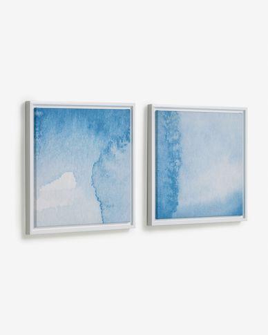 Set Maeva di 2 quadri acque blu e bianche 40 x 40 cm