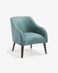 Bobly fauteuil turkoois poten met wengé afwerking