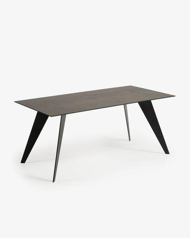 Tavolo Koda 180 cm porcellanato finitura Iron Moss gambe nero
