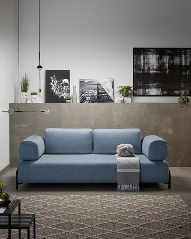 Compo 3-seater sofa in blue with small tray 232 cm