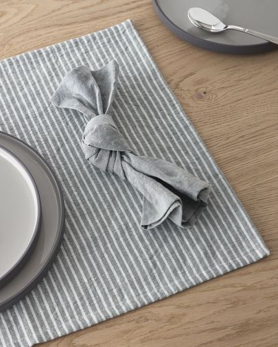 Imalay set of two cotton and linen napkins in grey