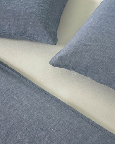 Set Eglant funda nórdica, bajera y funda almohada de algodón GOTS y lino azul 145 x 190 cm