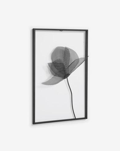 Quadre metàl·lic Nakita flor negre 40 x 46 cm