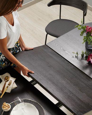 Milian ausziehbarer Tisch 140 (220) x 90 cm Eschenfurnier und schwarze Stahlbeine