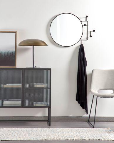 Vianela black mirror with hangers 70 x 51 cm