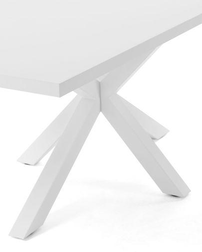 Mesa Argo 160 x 100 cm melamina acabado blanco patas de acero acabado blanco