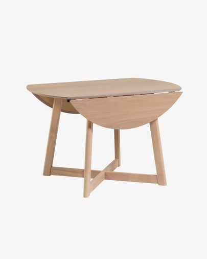 Mesa extensible Maryse 70 (120) x 75 cm chapa de roble patas madera maciza de caucho