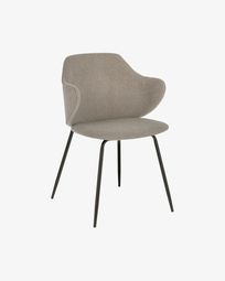 Light grey Suanne chair with steel legs with black finish