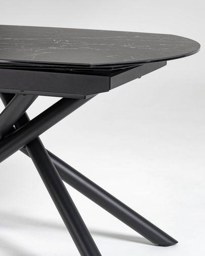 Mesa extensible Yodalia 130 (190) x 100 cm porcelánico patas de acero acabado negro