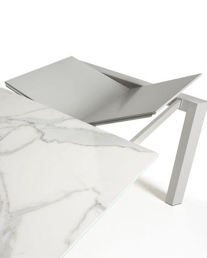 Taula extensible Axis 160 (220) cm porcelànic acabat Kalos Blanc potes gris