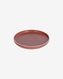 Roperta porcelain dessert plate in terracotta
