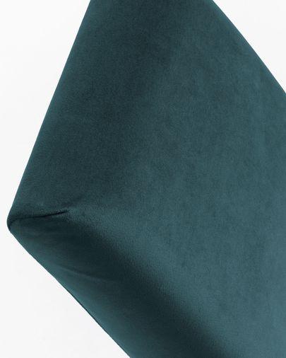 Silla Freda terciopelo azul y patas de madera maciza de haya acabado negro