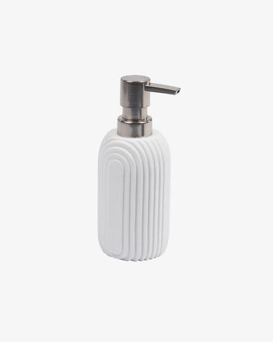 Ateneas white polyresin soap dispenser