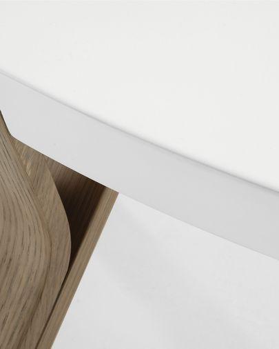 Mesa de centro Dilos madera maciza de roble con pátina gris y lacado blanco Ø 90 cm