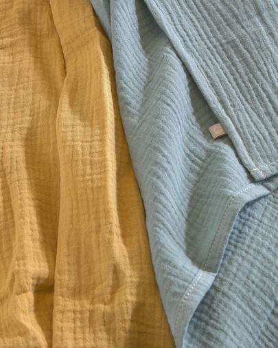 Set of two 100% organic muslin cotton (GOTS) Hilen muslins in turquoise mustard yellow