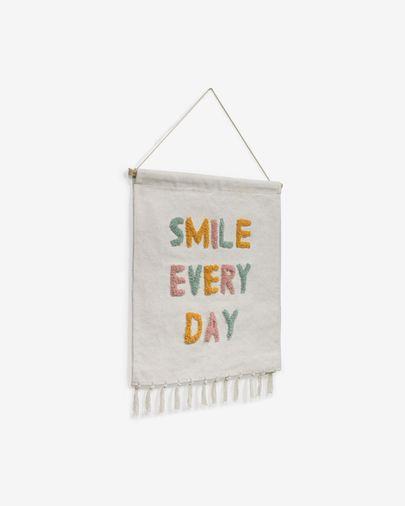 Tapiz mural Adelina smile every day blanco y mulicolor 52 x 60 cm