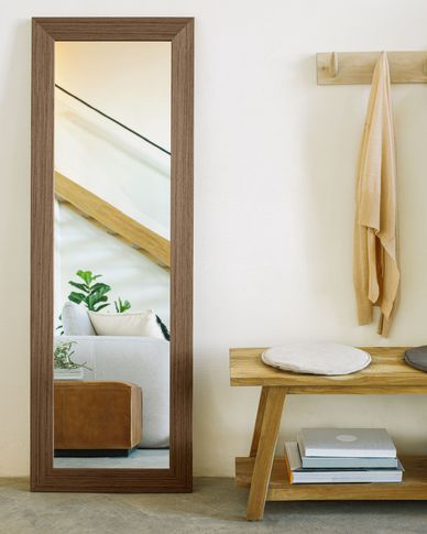 Yvaine spiegel brede omlijsting walnoot afwerking 52,5 x 152 cm