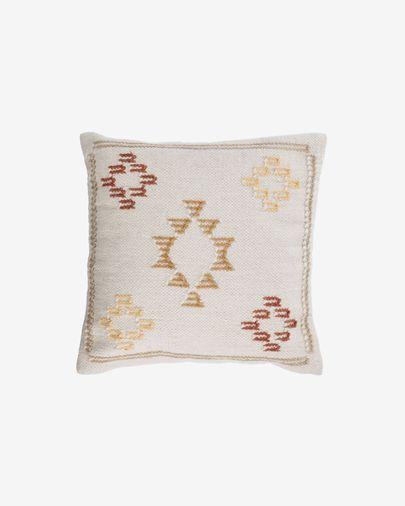 Funda cojín Bibiana de lana y algodón beige con estampado terracota y amarillo 45 x 45 cm