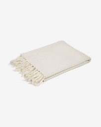 Shallow 100% cotton blanket in white 130 x 170 cm