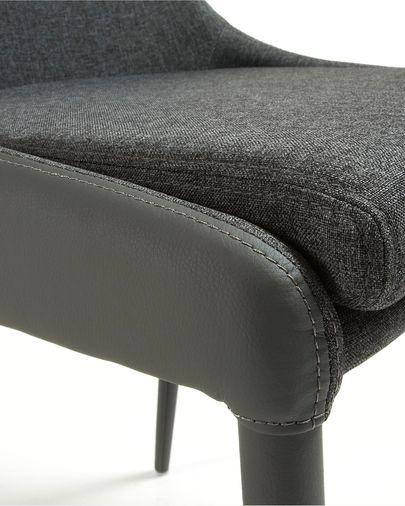 Sedia Davi in pelle sintetica grigio scuro