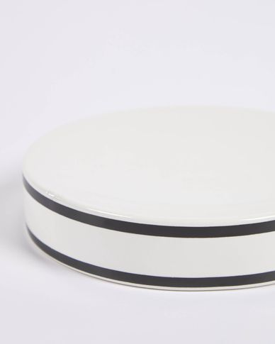 Arminda white ceramic soap dish with black detail