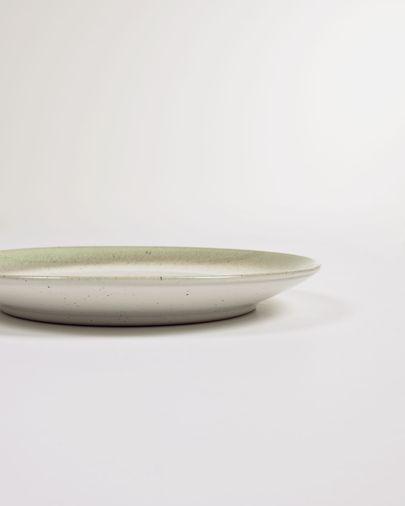 Plato de postre Elida de cerámica beige y verde
