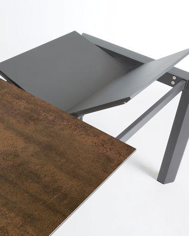 Extendable table Axis 160 (220) cm porcelain Iron Corten finish anthracite legs