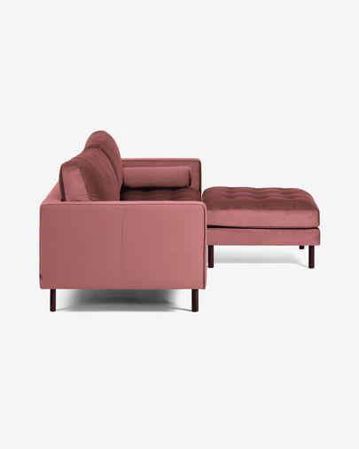 Sofà Debra 3 places amb reposapeus vellut rosa 222 cm