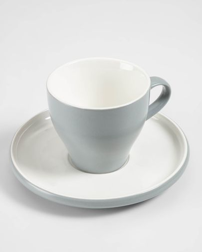 Tasse à café avec soucoupe Sadashi en porcelaine blanc et gris