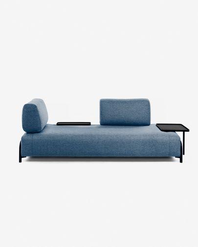 Compo 3-Sitzer Sofa blau mit großem Tablett 252 cm