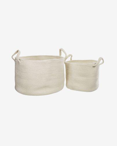 Set Acsa de 2 cestas de algodón blanco