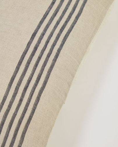 Funda cojín Ernestina 100% lino rayas negro 30 x 50 cm