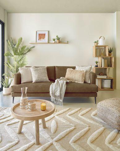 Tanya 2-seater sofa covered in dark brown fabric 183 cm
