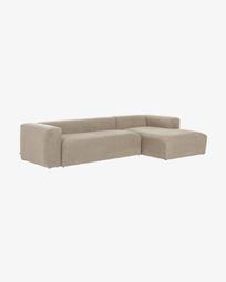 Canapé d'angle Blok 3 places fixe droite beige 330 cm