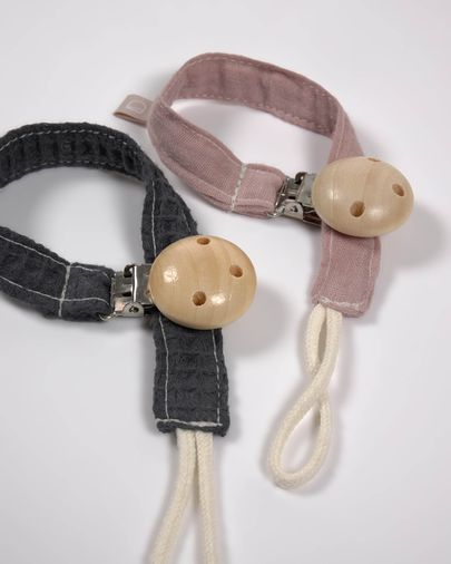 Set of two 100% organic cotton (GOTS) Marinet dummy clips in pink and blue