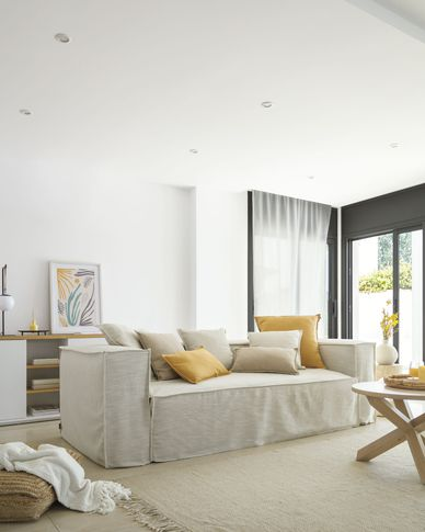 Blok 2-seater sofa with removable covers in white linen 210 cm