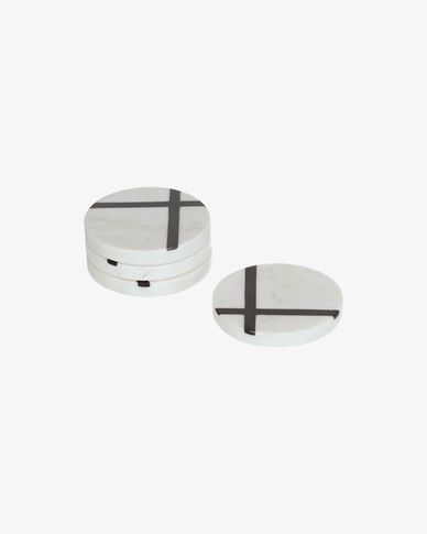 Set Imeris de 4 posagots marbre blanc i negre