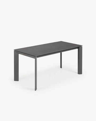 Axis uitschuifbare tafel 160 (200) cm porselein afwerking Vulcano Roca antraciet benen