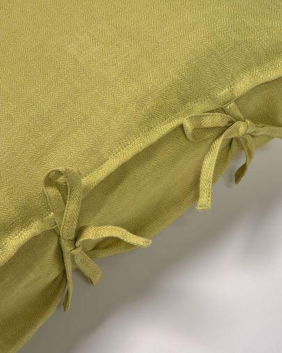 Groene kussenhoes Tazu van 100% linnen 45 x 45 cm