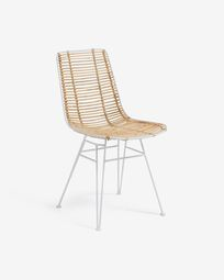 Tishana chair with rattan armrests and white steel finish