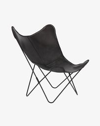 Black leather Fly armchair