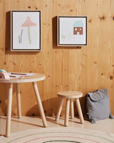 Lot Leshy de 2 Tableaux champignon rose et maison bleue 30 x 40 cm / 30 x 30 cm
