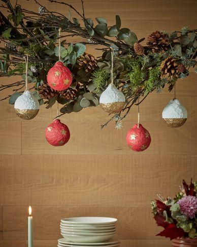 Set Galia witte en gouden decoratieve ballen met strepen