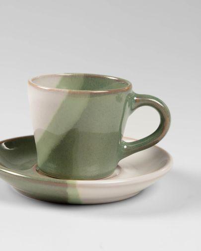Tassa de cafè amb plat Naara blanc i verd