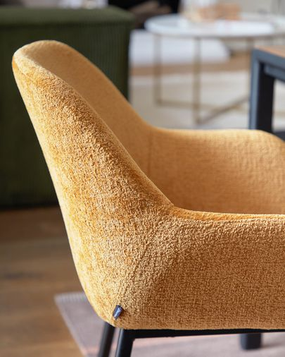 Konna chair in mustard chenille with steel legs and painted black finish