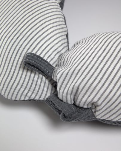 Madinna nursing pillow 100% organic cotton (GOTS) in stripy grey
