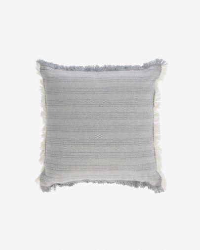 Housse de coussin Devi 100% coton franges beige et bleu 45 x 45 cm